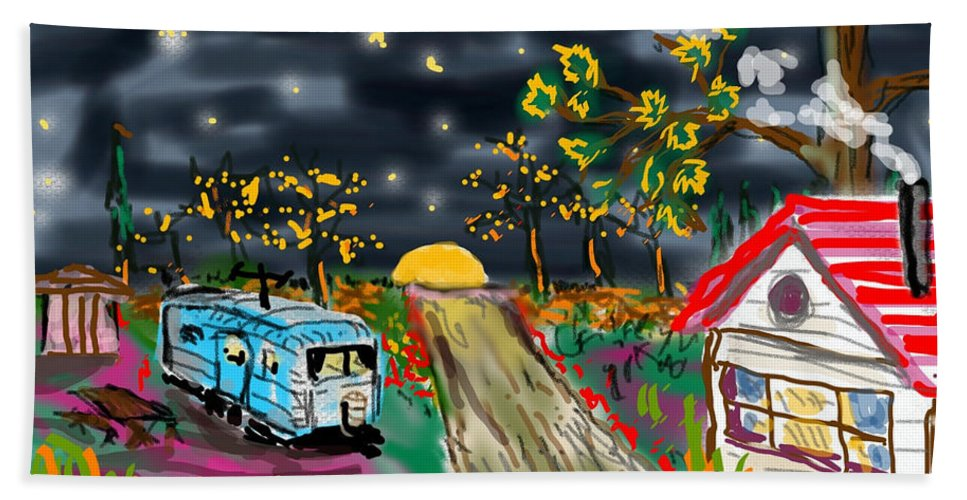 Colorful Night Starry House Red Roof Blue Trailer Trees Sunset Contemporary Bath Sheet featuring the digital art The Blue Trailer by David R Keith