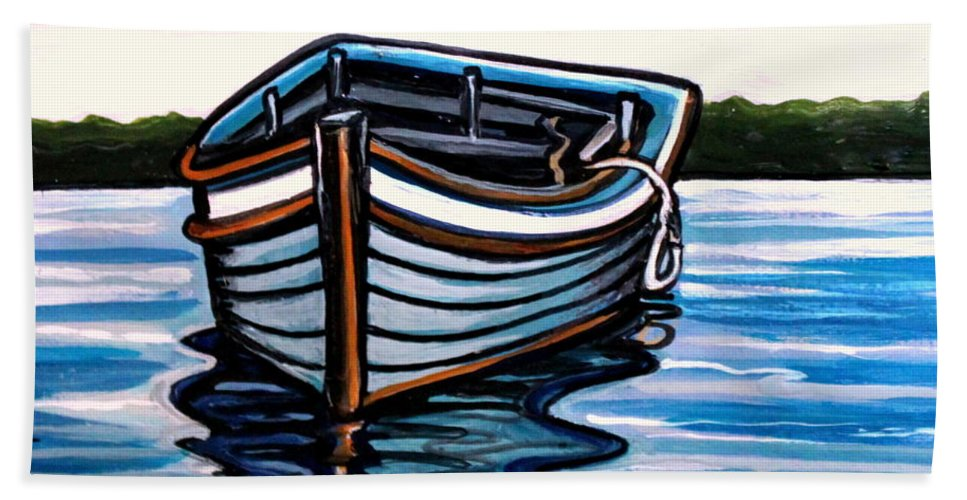 Blue Bath Sheet featuring the painting The Blue Wooden Boat by Elizabeth Robinette Tyndall