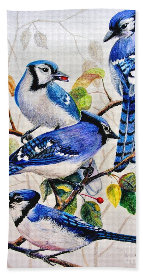 Bluejays Bath Sheet featuring the drawing The Blues by Marilyn Smith