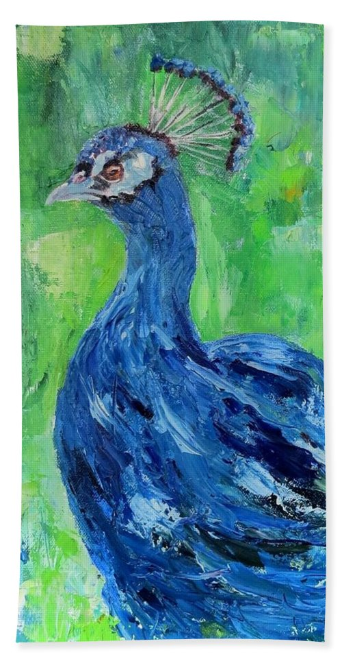 Peacock Hand Towel featuring the painting The Blues,peacock by Sandra Reeves