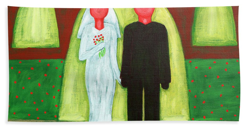 Wedding Hand Towel featuring the painting The Blushing Bride And Groom by Patrick J Murphy
