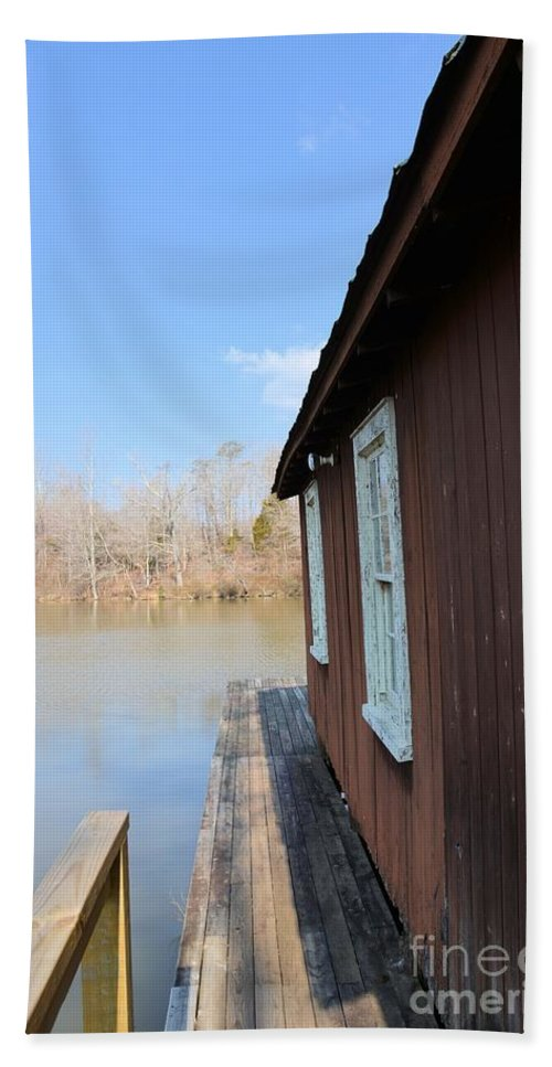 Boat House Bath Sheet featuring the photograph The Boat House by Katherine W Morse