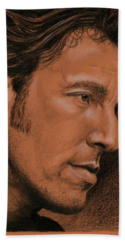 Bruce Springsteen Hand Towel featuring the drawing The Boss by Rob De Vries