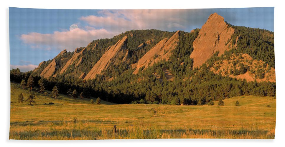 Boulder Hand Towel featuring the photograph The Boulder Flatirons by Jerry McElroy