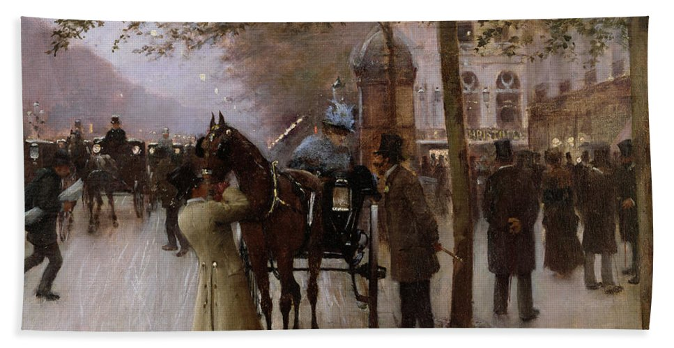 Traffic Bath Towel featuring the painting The Boulevards by Jean Beraud