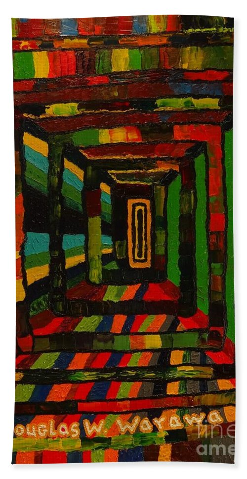Abstract Hand Towel featuring the painting The Boxed Experiment #2 by Douglas W Warawa