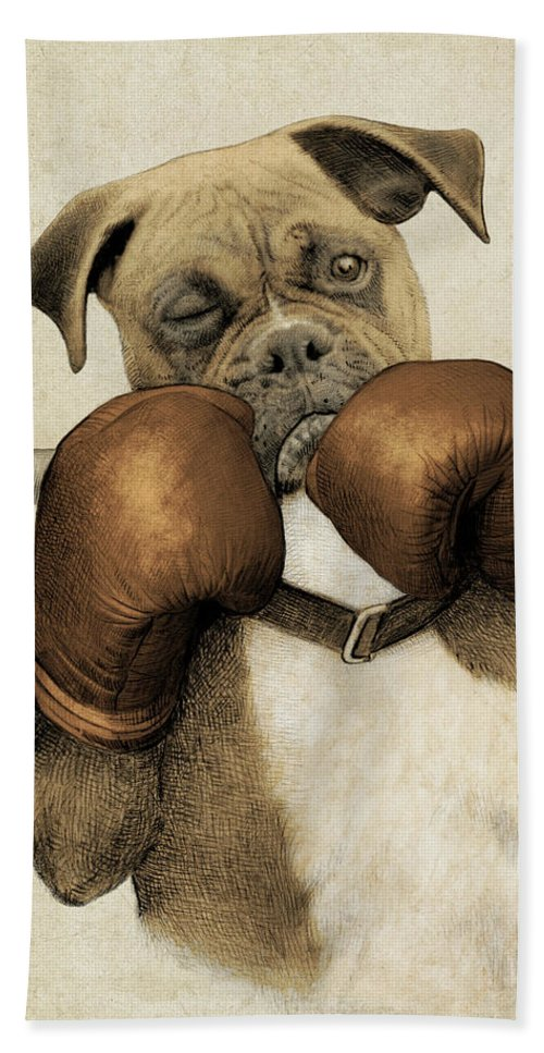 Boxer Bath Towel featuring the drawing The Boxer by Eric Fan