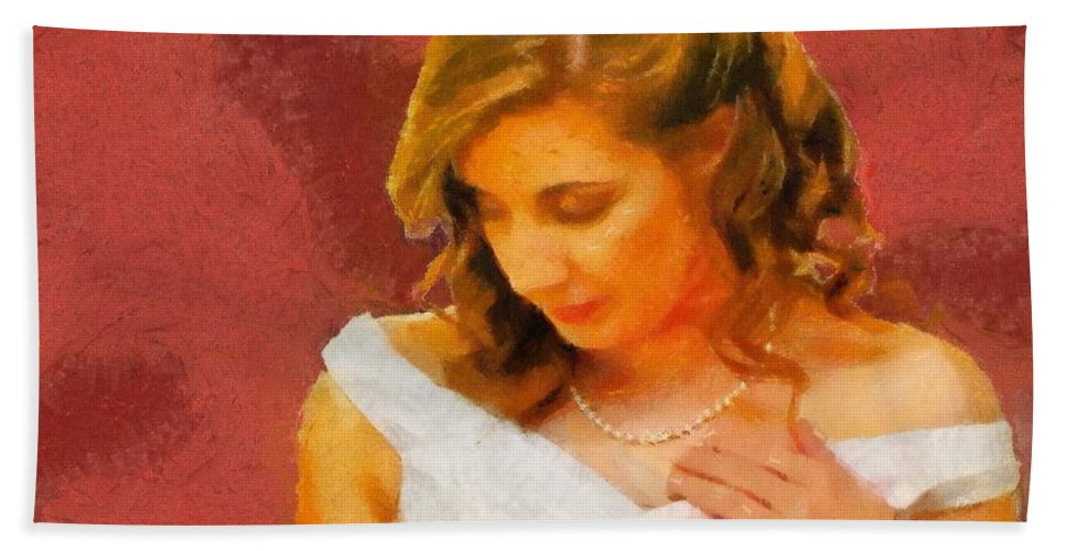 Wedding Hand Towel featuring the painting The Bride To Be by Jeffrey Kolker