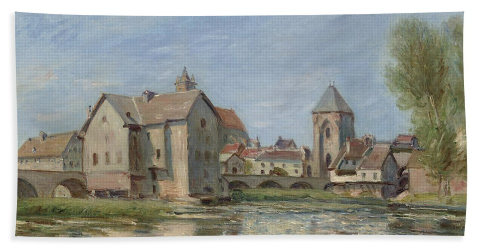 The Bridge And Mills Of Moret Sur Loing Hand Towel featuring the painting The Bridge And Mills Of Moret Sur Loing by Alfred Sisley
