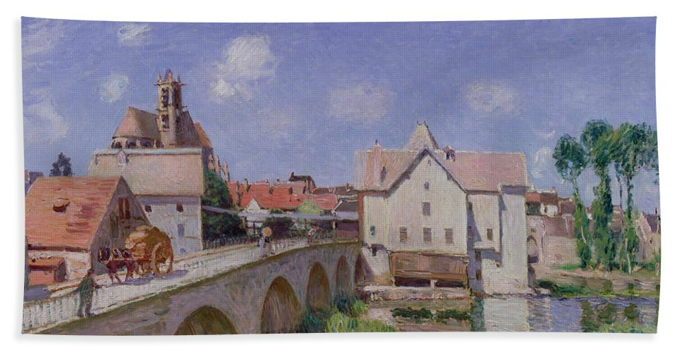 The Bridge At Moret Bath Sheet featuring the painting The Bridge At Moret by Alfred Sisley