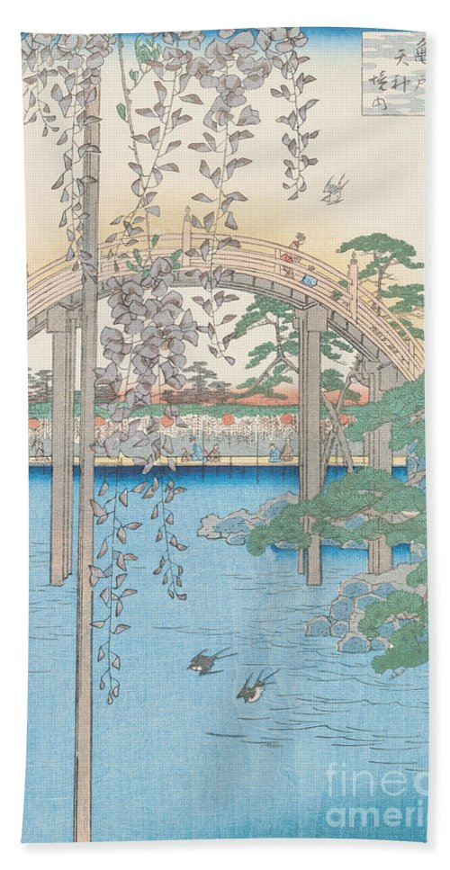 Wooden; River; Tokyo; Flowers; Plant; Blossom Hand Towel featuring the drawing The Bridge With Wisteria by Hiroshige