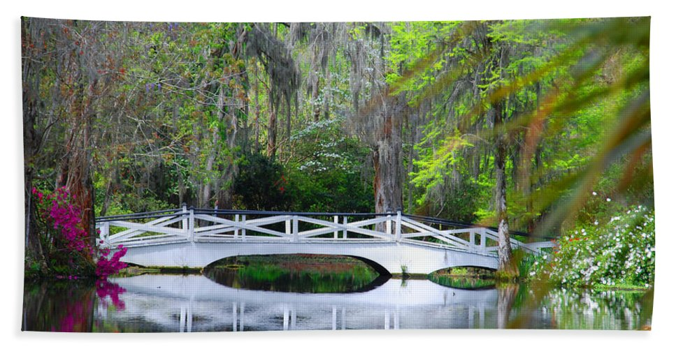 Photography Bath Towel featuring the photograph The Bridges In Magnolia Gardens by Susanne Van Hulst