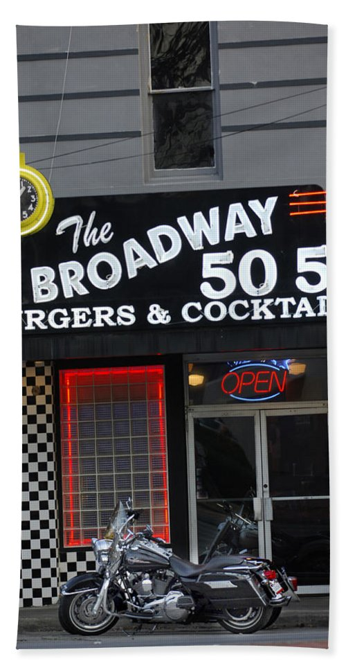 Diner Bath Sheet featuring the photograph The Broadway 50 50 by Jill Reger
