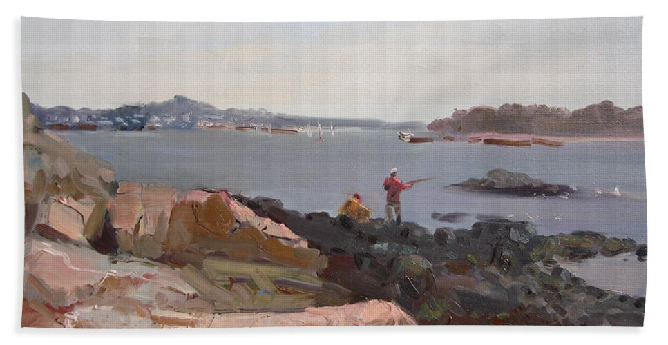 The Bronx Rocky Shore Hand Towel featuring the painting The Bronx Rocky Shore by Ylli Haruni