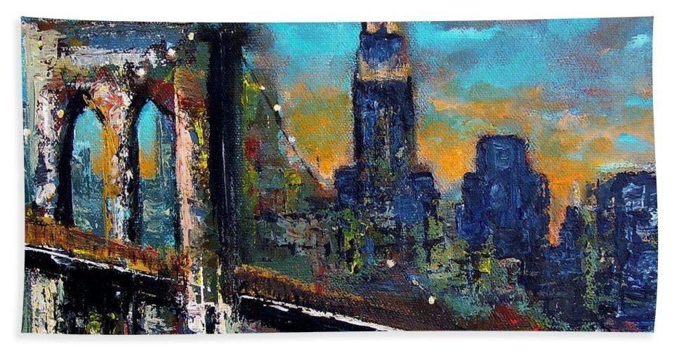 Bridges Bath Sheet featuring the painting The Brooklyn Bridge by Frances Marino
