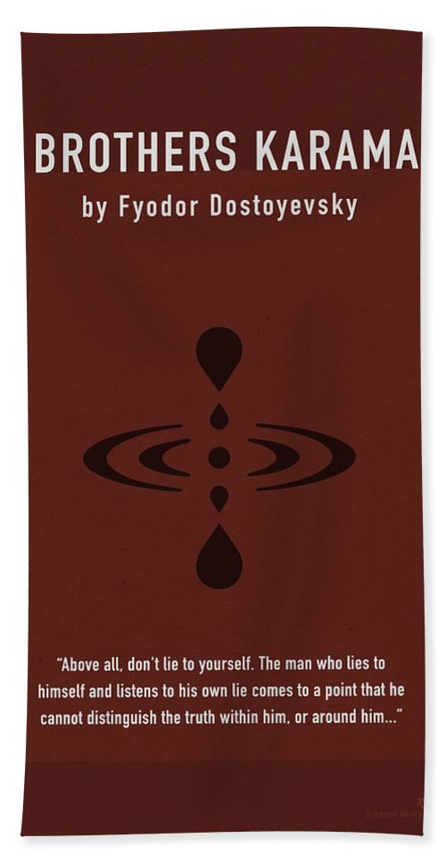 The Brothers Karamazov Bath Sheet featuring the mixed media The Brothers Karamazov Greatest Books Ever Series 015 by Design Turnpike