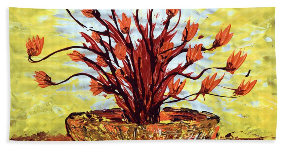 Red Bush Bath Towel featuring the painting The Burning Bush by J R Seymour