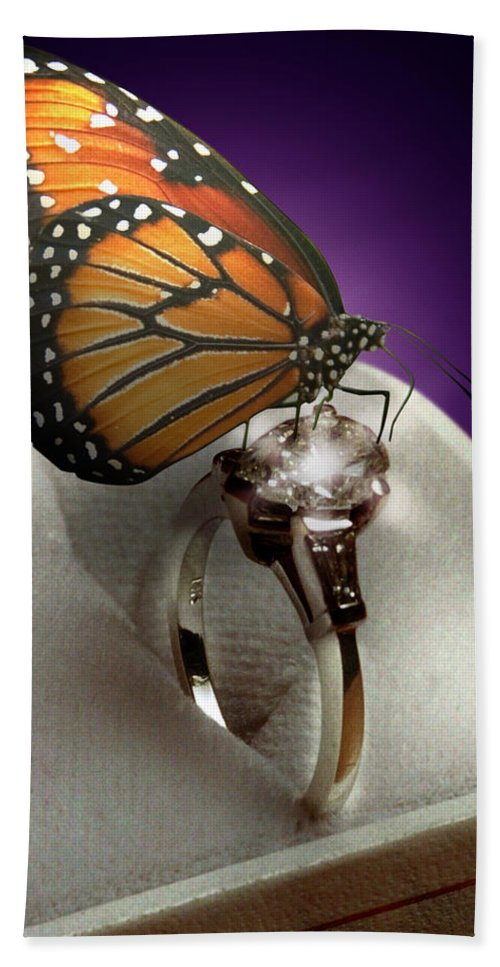 Fantasy Bath Towel featuring the mixed media The Butterfly and the Engagement Ring by Yuri Lev