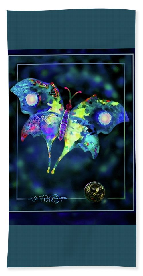 Butterfly Hand Towel featuring the digital art The Butterfly Mission by Hartmut Jager