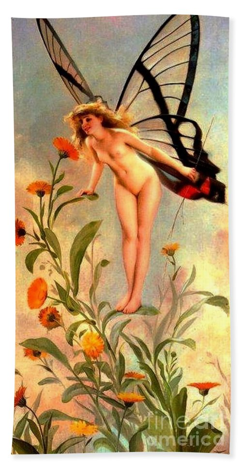 Pd: Reproductions Hand Towel featuring the painting The Butterfly by Reproduction