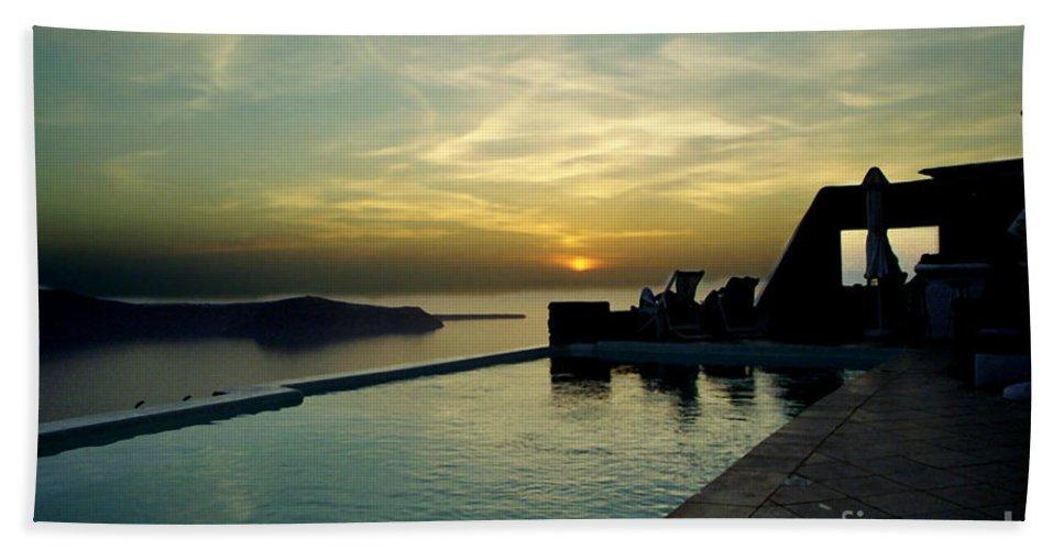 Caldera Bath Sheet featuring the photograph The Caldera View In Santorini by Madeline Ellis