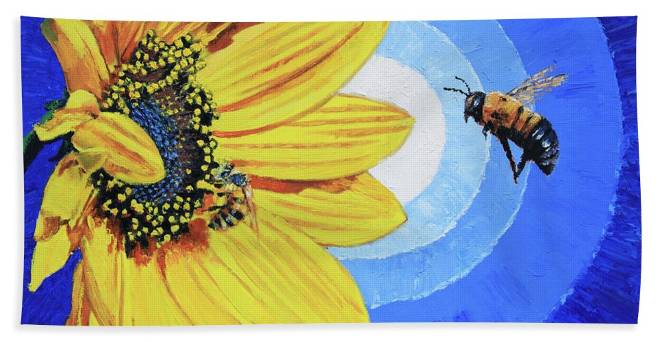 Bee Bath Towel featuring the painting The Call of the Sunflower by John Lautermilch