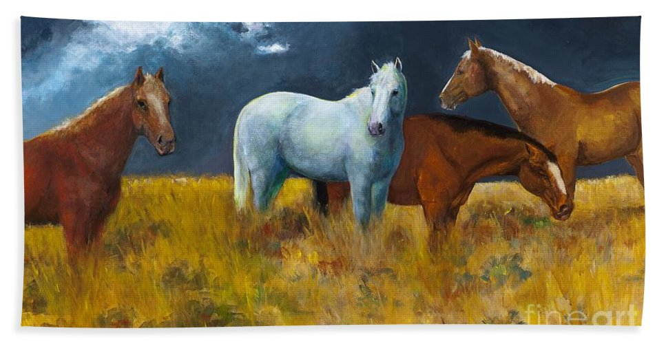Horses Bath Sheet featuring the painting The Calm After The Storm by Frances Marino