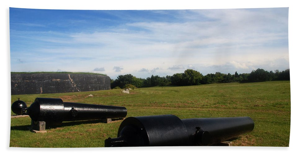 Photography Bath Sheet featuring the photograph The Cannons At Fort Moultrie In Charleston by Susanne Van Hulst