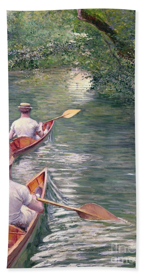 Rowing Hand Towel featuring the painting The Canoes by Gustave Caillebotte