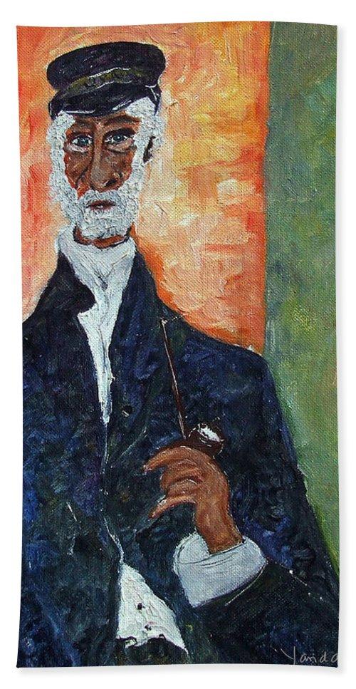 Katt Yanda Original Art Portrait Oil Painting Canvas Old Man Pipe Captain Hand Towel featuring the painting The Captain by Katt Yanda