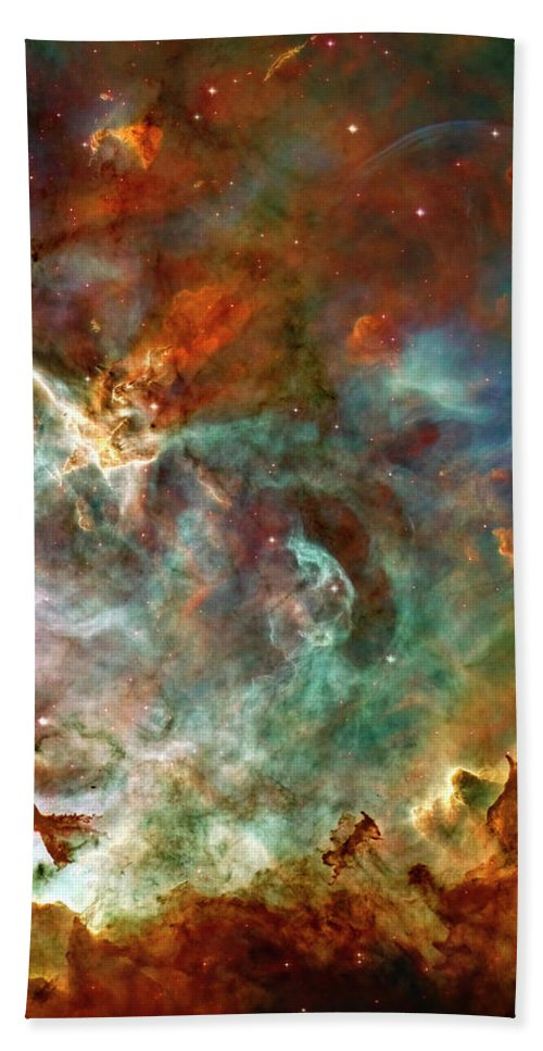 Carina Hand Towel featuring the photograph The Carina Nebula Panel Number Three Out Of A Huge Three Panel Set by Ricky Barnard