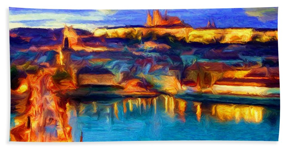 Prague Bath Sheet featuring the digital art The Castle And The River by Caito Junqueira