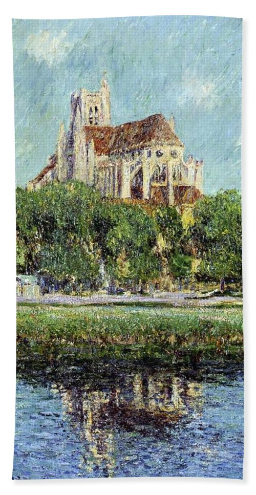 The Cathedral At Auxerre Bath Sheet featuring the painting The Cathedral At Auxerre by Gustave Loiseau