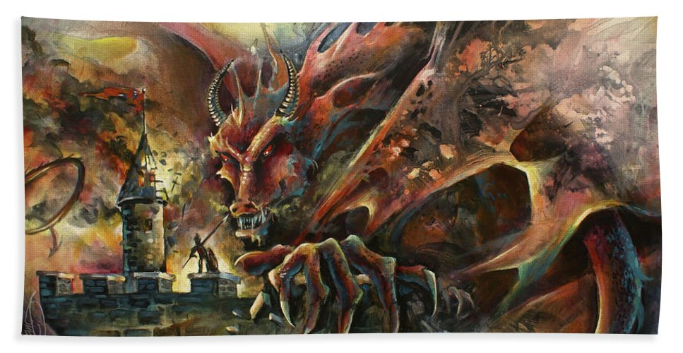 Fantasy Hand Towel featuring the painting The Challenge by Michael Lang