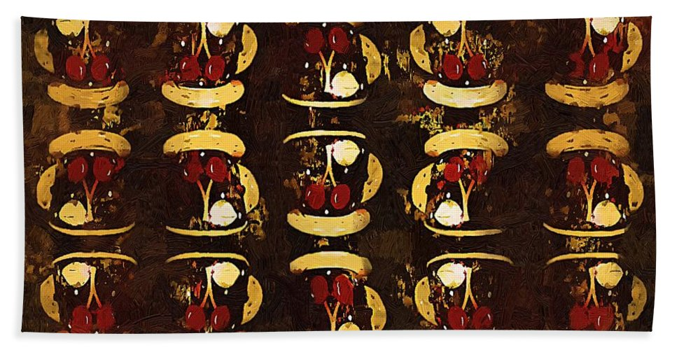 Abstract Hand Towel featuring the painting The Chaos Of Tiny Teacups by RC DeWinter