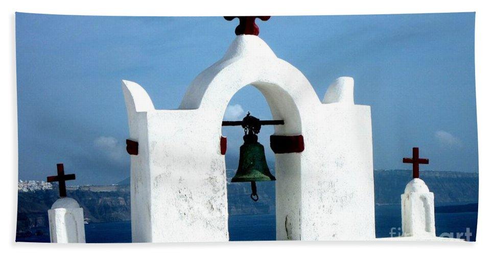 Santorini Hand Towel featuring the photograph The Chapel Bell by Karen Norton