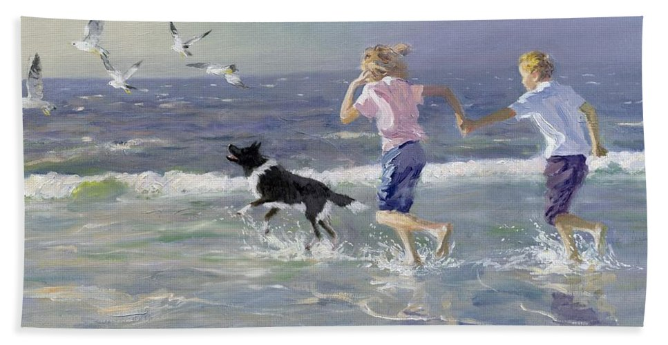 Seaside; Children; Playing; Male; Female; Girl; Boy; Paddling; Pet Dog; Seagulls; Seashore; Sea; Beach; Summer; Holiday; Vacation; Fun; Holding Hands; Splashing; Coastal; Coast; Running; Seagull; Sand; Wave; Waves; Barefoot Hand Towel featuring the painting The Chase by William Ireland