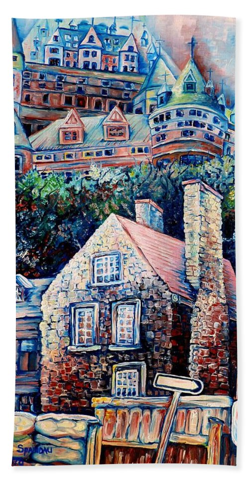 Chateau Frontenac Bath Sheet featuring the painting The Chateau Frontenac by Carole Spandau