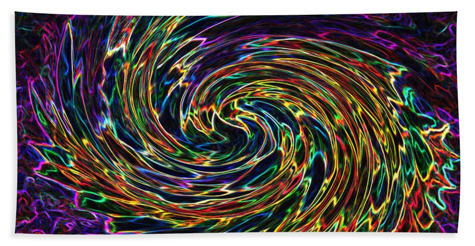 Abstract Bath Sheet featuring the digital art The Cherub's Flight by Iliyan Bozhanov