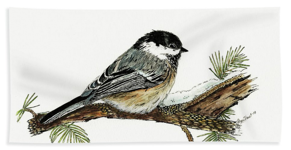 Chickadee Hand Towel featuring the painting The Chickadee by Shari Nees