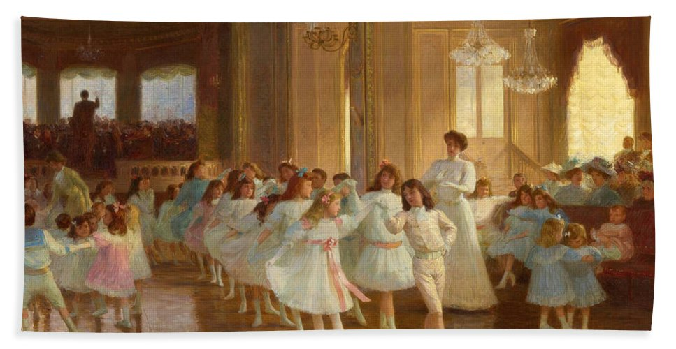 Victor Gabriel Gilbert Hand Towel featuring the painting The Children's Dance Recital At The Casino De Dieppe by Victor Gabriel Gilbert