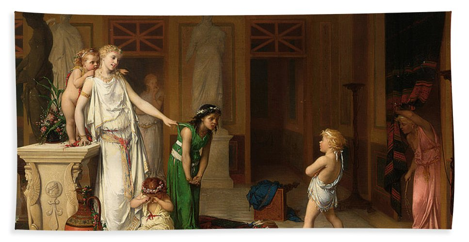 Pierre Olivier Joseph Coomans Hand Towel featuring the painting The Children's Quarrel by Pierre Olivier Joseph Coomans