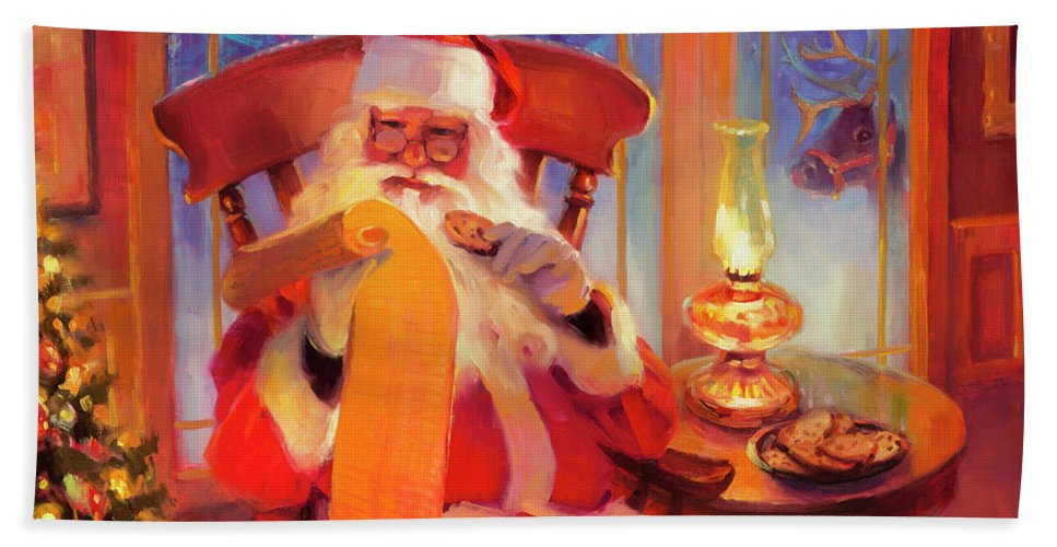 Santa Bath Towel featuring the painting The Christmas List by Steve Henderson