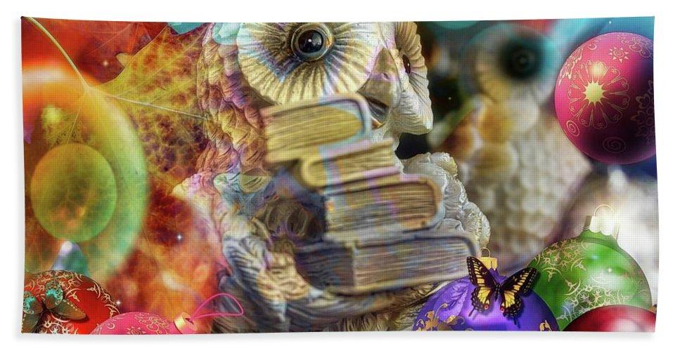 Christhmas Bath Sheet featuring the digital art The Christmas Owl by Daniel Arrhakis