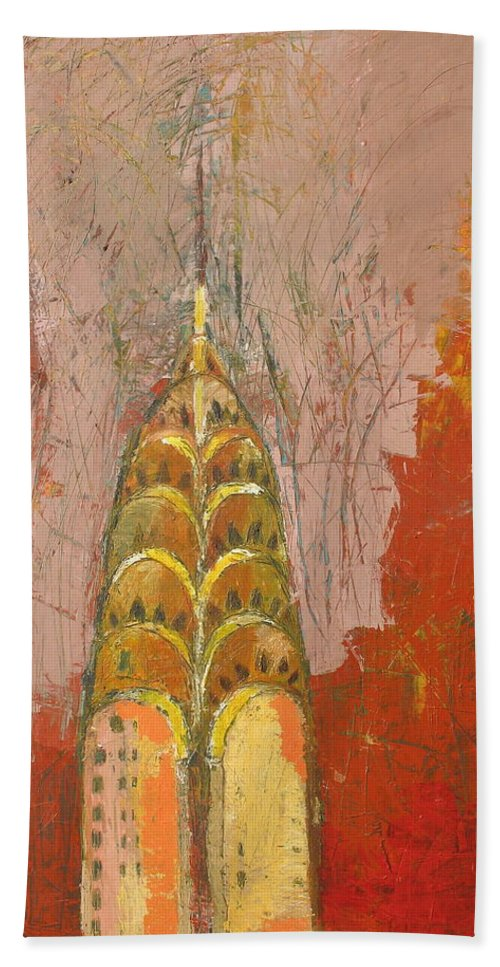 Abstract Cityscape Bath Towel featuring the painting The Chrysler In Motion by Habib Ayat