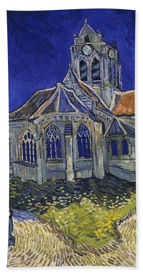 Vincent Van Gogh Bath Towel featuring the painting The Church At Auvers by Van Gogh