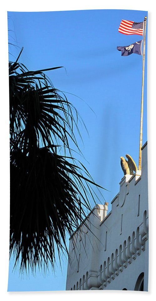 Photography Hand Towel featuring the photograph The Citadel In Charleston by Susanne Van Hulst