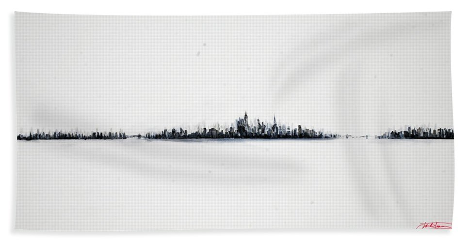 New Bath Sheet featuring the painting The City New York by Jack Diamond