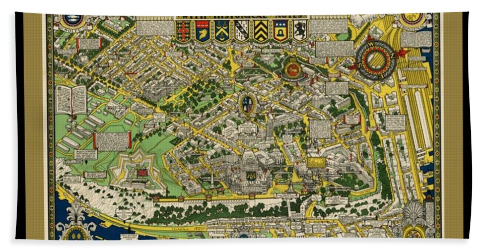 The City Of Quebec Canada Bath Sheet featuring the painting The City Of Quebec Canada by Pd