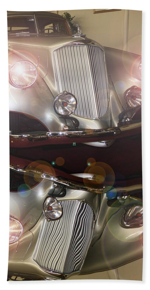 Classic Car Antique Vehicle Rolls Royce Photo Car Show Collector Automobile Chrome Bath Sheet featuring the photograph The Classic 1 by Andrea Lawrence